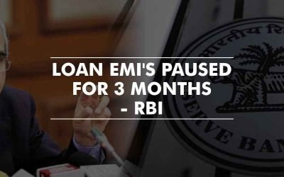 Payment of loan EMI's paused for 3 months – RBI